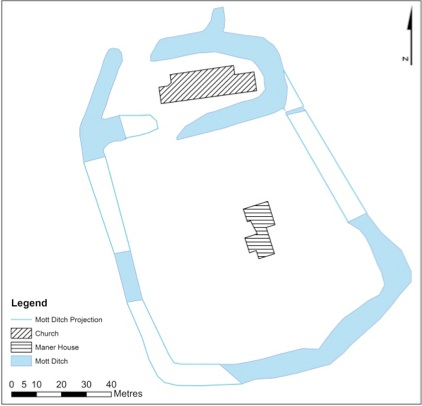 Saxon ditch surrounding Manor House and Church, as identified through geophysical survey data.